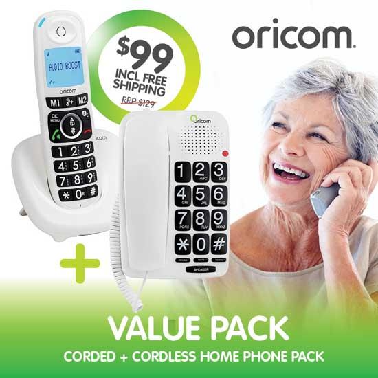 Oricom TP58WHCP Amplified Phone Pack