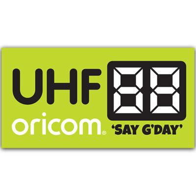 Oricom UHF Channel Bumper Sticker